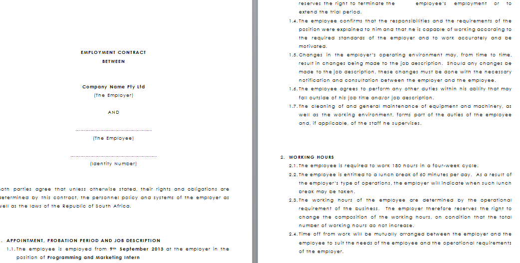 Temporary employment contract template for Permanent contract of employment template