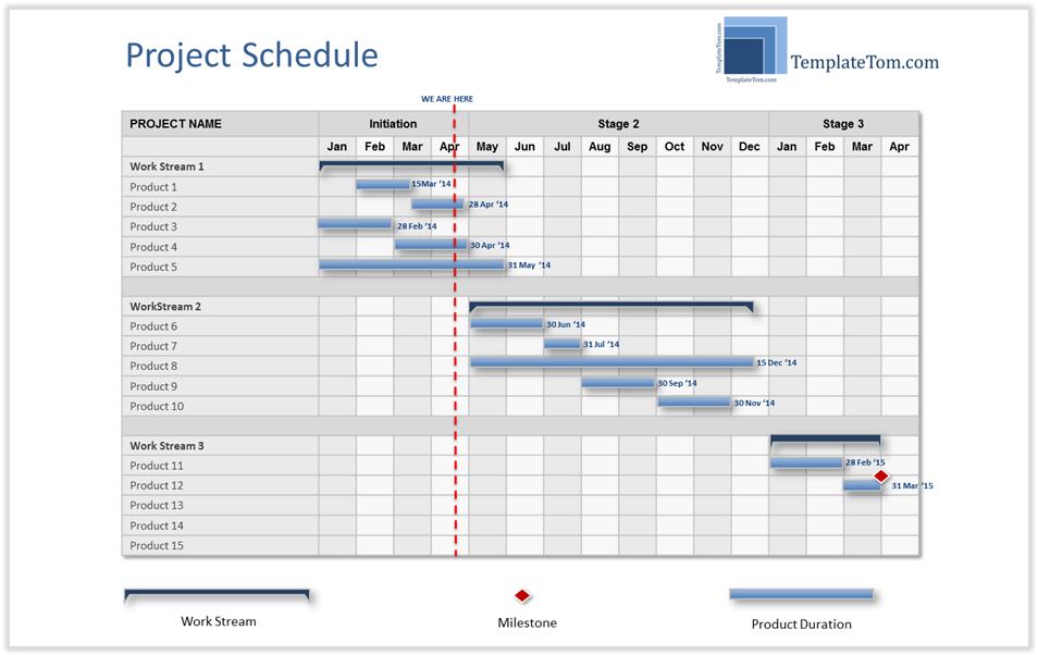 High level project schedule summary gantt chart for High level project plan template ppt