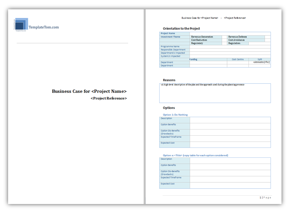 Prince 2 Business Case Template MS word