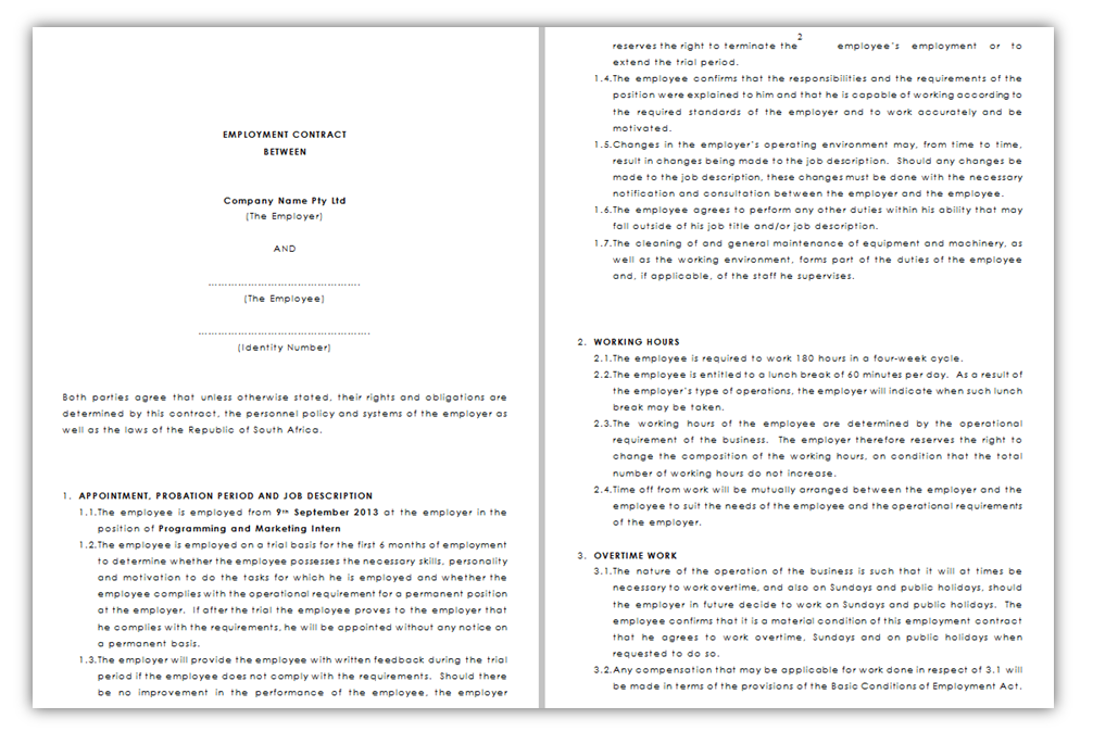 South African Employment contract